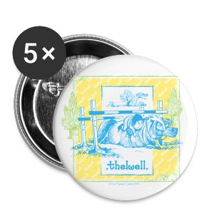 PonyFall blue yellow Thelwell Cartoon - Buttons medium 32 mm