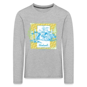 PonyFall blue yellow Thelwell Cartoon - Kids' Premium Longsleeve Shirt