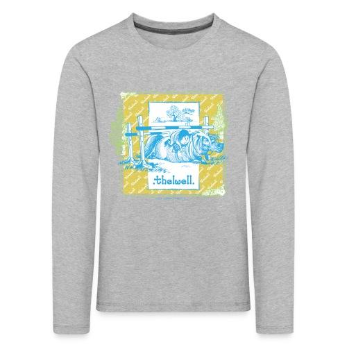 PonyFall blue yellow Thelwell Cartoon - Kids' Premium Longsleeve Shirt