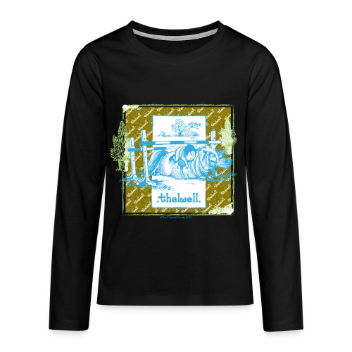 PonyFall blue yellow Thelwell Cartoon - Teenagers' Premium Longsleeve Shirt