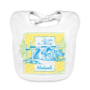 PonyFall blue yellow Thelwell Cartoon - Baby Organic Bib