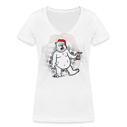 DRUNKEN POLAR BEAR - Women's T-shirt - Women's Organic V-Neck T-Shirt by Stanley & Stella