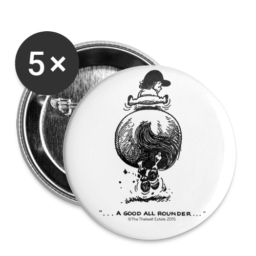 Buttons large 2.2''/56 mm(5-pack) - Funny Thelwell Cartoon from the official collection 'The Thelwell Estate 2015'