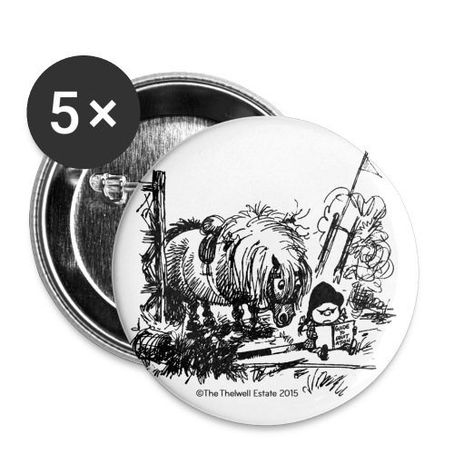 Buttons medium 1.26/32 mm (5-pack) - Funny Thelwell Cartoon from the official collection 'The Thelwell Estate 2015'