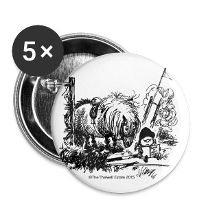 Buttons groß 56 mm - Lustiger Thelwell Cartoon aus der offiziellen Kollektion 'The Thelwell Estate 2015'