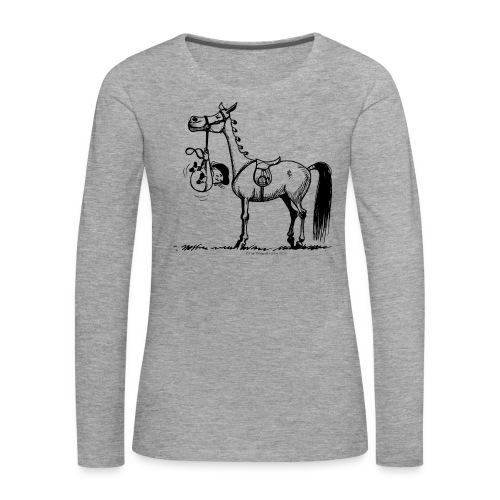 Frauen Premium Langarmshirt - Lustiger Thelwell Cartoon aus der offiziellen Kollektion 'The Thelwell Estate 2015'