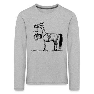 Kinder Premium Langarmshirt - Lustiger Thelwell Cartoon aus der offiziellen Kollektion 'The Thelwell Estate 2015'