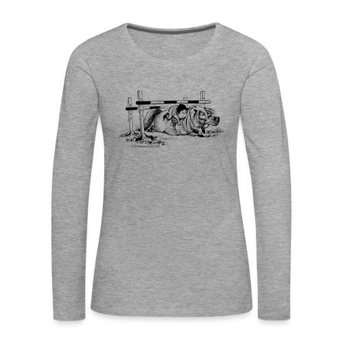 Frauen Premium Langarmshirt - Lustiger Thelwell Cartoon aus der offiziellen Kollektion 'The Thelwell Estate 2015'