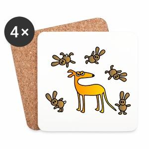 Galgo und Hasen - Untersetzer (4er-Set)