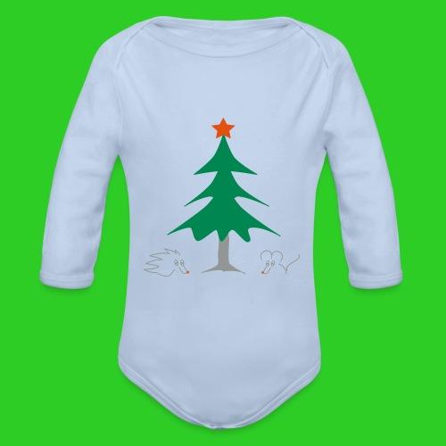 Baby Body longsleeve grau Weihnachten - Baby Bio-Langarm-Body