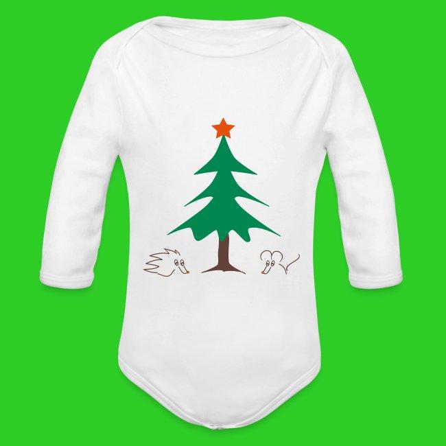 Baby Body longsleeve weiß Weihnachten
