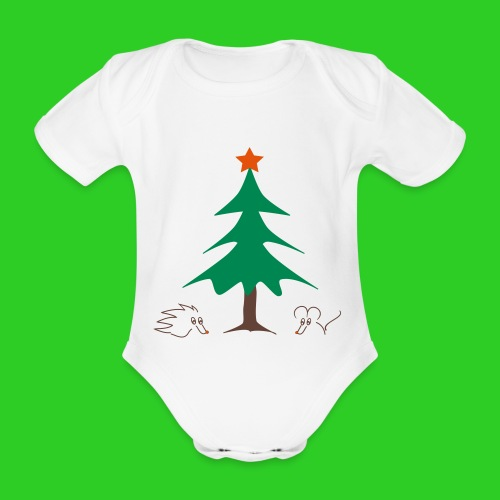 Baby Body weiß Weihnachten - Baby Bio-Kurzarm-Body