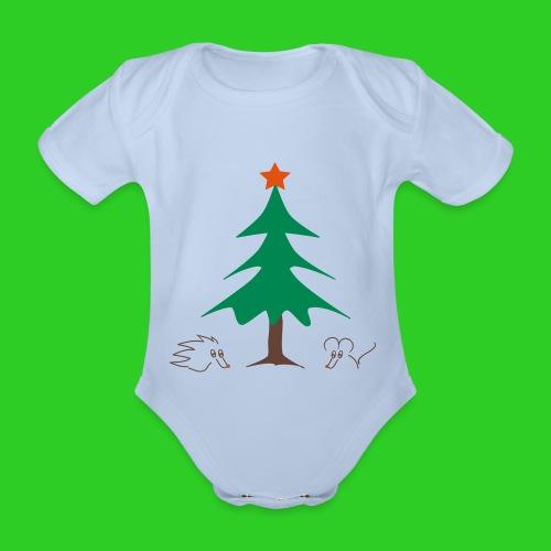 Baby Body hellblau Weihnachten - Baby Bio-Kurzarm-Body