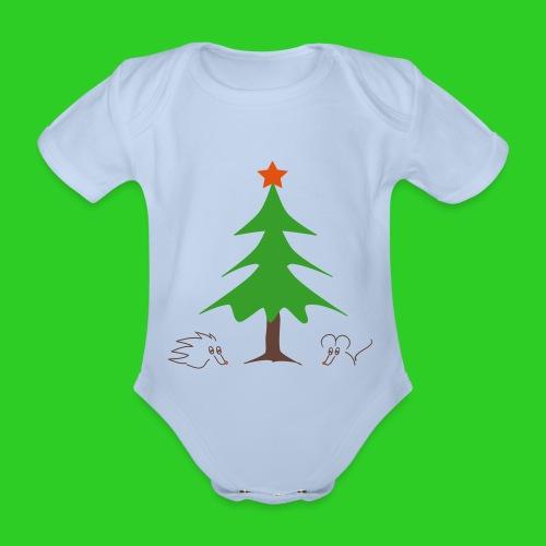 Baby Body grün Weihnachten - Baby Bio-Kurzarm-Body
