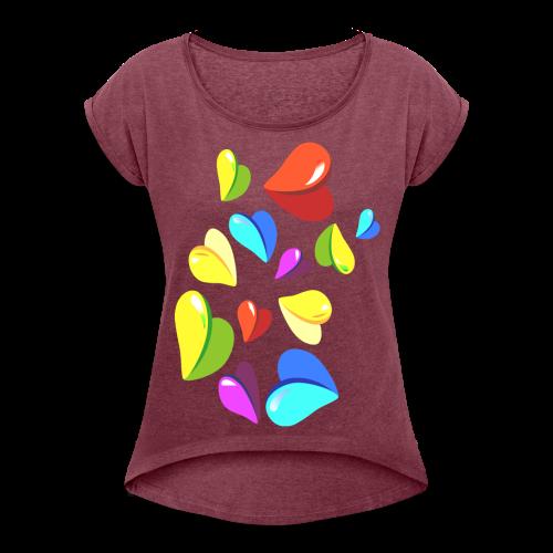 Herzchen Shirt für Frauen - Frauen T-Shirt mit gerollten Ärmeln