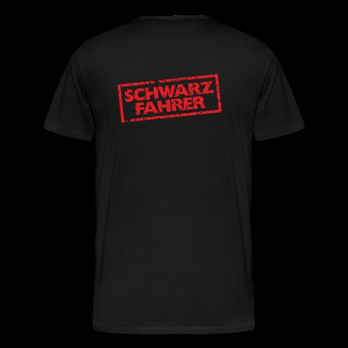 Schwarzfahrer T-Shirt (Schwarz Rot) Rücken - Männer Premium T-Shirt