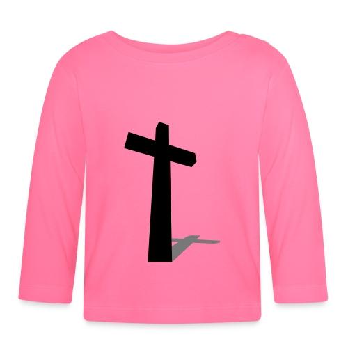 Camiseta bebé manga larga con cruz - Camiseta manga larga bebé