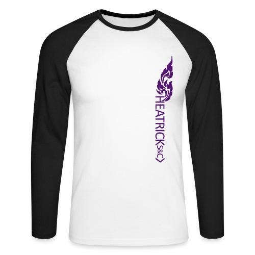 Baseball Style Long Sleeve Shirt, Purple Logo - Men's Long Sleeve Baseball T-Shirt