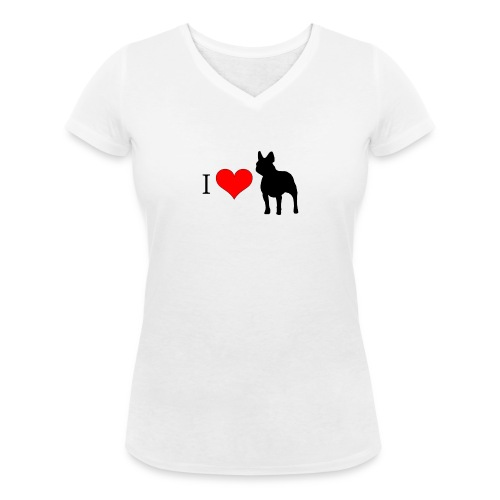 Tee shirt manches courtes pour femmes, bouledogue - T-shirt bio col V Stanley & Stella Femme