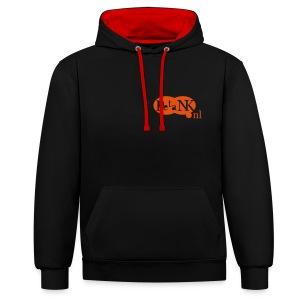 Contrast Hoodie voor hem en haar met oranje logo - Contrast hoodie