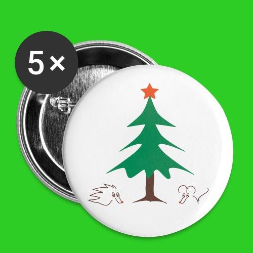 Button 56mm - Weihnachten mit Igel und Maus - Buttons groß 56 mm