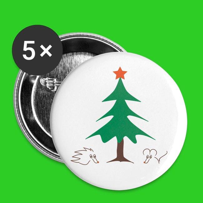 Button 56mm - Weihnachten mit Igel und Maus