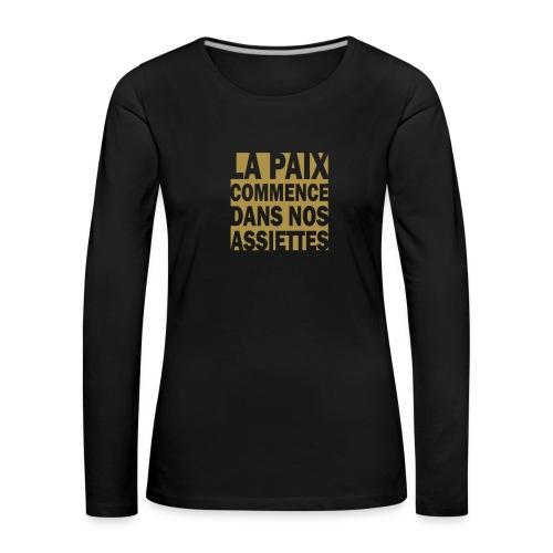 La Paix -  paillettes or - T-shirt manches longues Premium Femme
