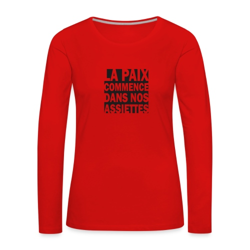 La Paix -  paillettes noires - T-shirt manches longues Premium Femme