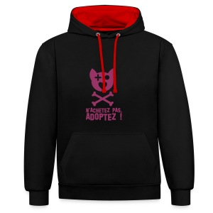 Adoptez Chien -  paillettes rouges - Sweat-shirt contraste