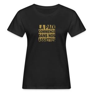 La Paix -  paillettes or - T-shirt bio Femme