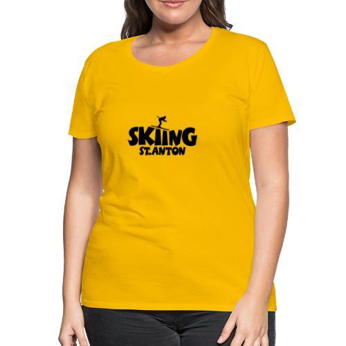 Skiing St. Anton T-Shirt (Damen Gelb/Schwarz) - Frauen Premium T-Shirt