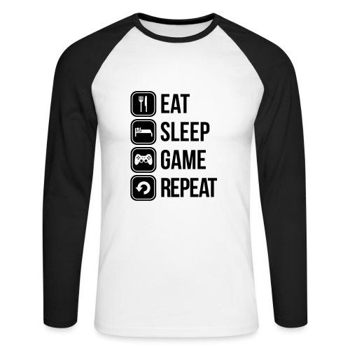 Eat sleep game and repeat  - Langermet baseball-skjorte for menn