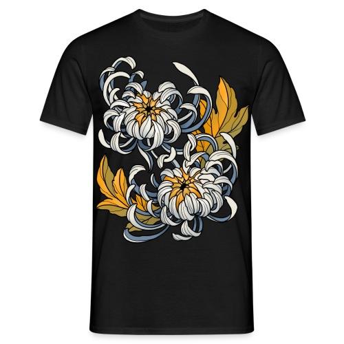 T-shirt Homme - Chrysanthèmes enlacés, modèle homme, par Léonie Boullard. 2014.