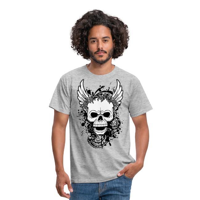 2e9a676db9de3 Calavera con alas-Camiseta hombre