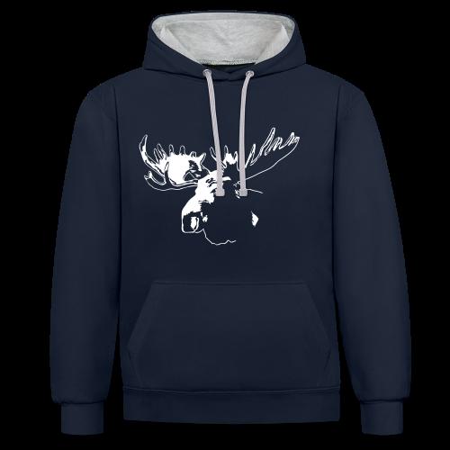 Elch - Moose - Kontrast-Hoodie