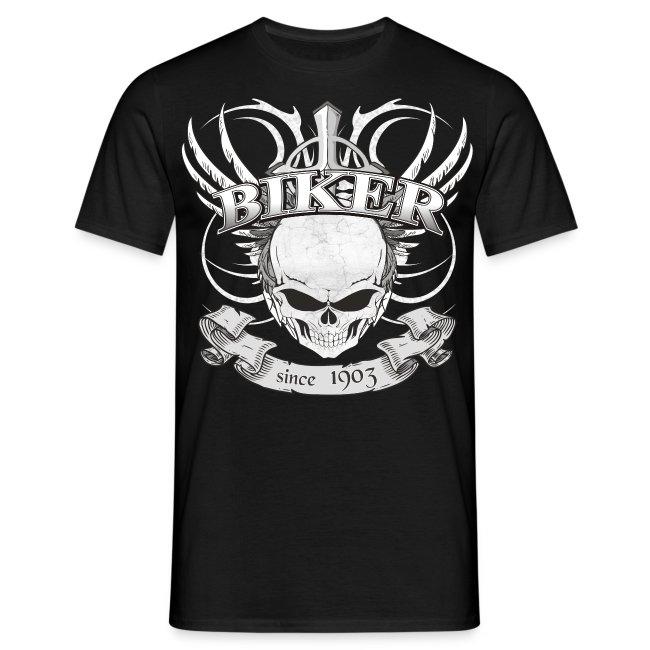 Cooles Biker T-shirt mit Skull im Tattoo style