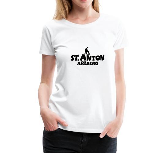 St. Anton am Arlberg Snowboard T-Shirt (Damen Weiß/Schwarz) - Frauen Premium T-Shirt