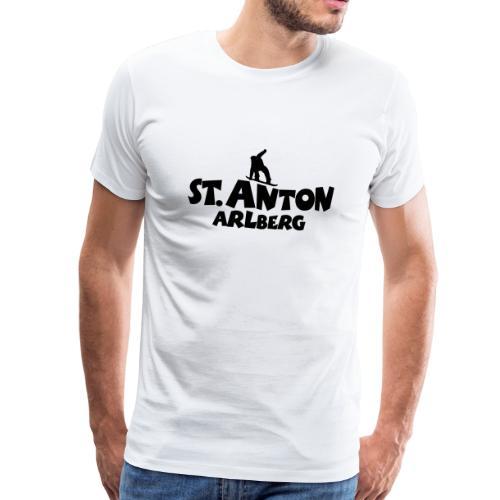 St. Anton am Arlberg Snowboard T-Shirt (Herren Weiß/Schwarz) - Männer Premium T-Shirt