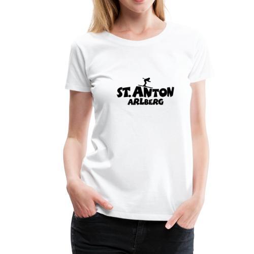 St. Anton am Arlberg Ski T-Shirt (Damen Weiß/Schwarz) - Frauen Premium T-Shirt