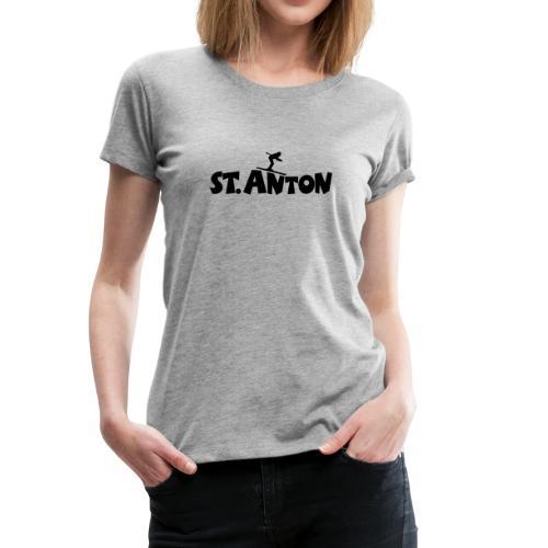 St. Anton Ski T-Shirt (Damen Grau/Schwarz) - Frauen Premium T-Shirt