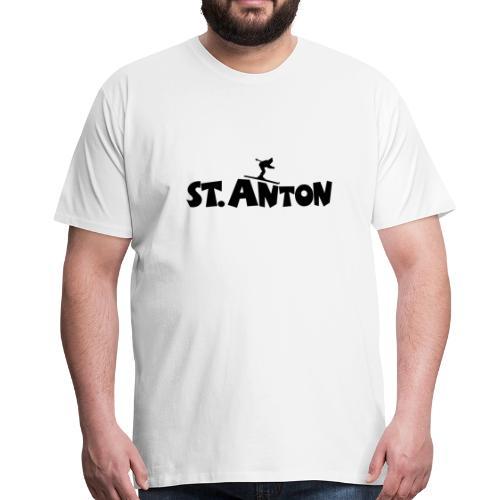 St. Anton Ski T-Shirt (Herren Weiß/Schwarz) - Männer Premium T-Shirt