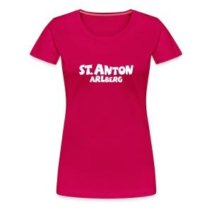 St. Anton Arlberg T-Shirt (Damen Pink/Weiß) - Frauen Premium T-Shirt