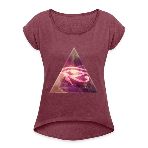 T-shirt femme illuminati galaxy - T-shirt à manches retroussées Femme