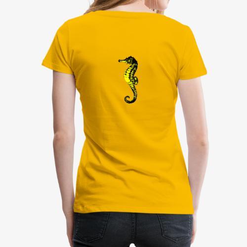 Hippocampe noir et or sur dos - T-shirt Premium Femme