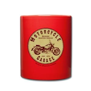 Biker Kaffee Becher | Motorcycle Garage (wine-red) - Tasse einfarbig