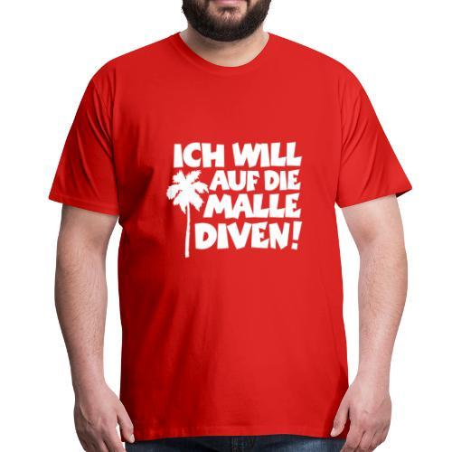 Malle Diven Solo T-Shirt mit Palme (Herren Rot/Weiß) - Männer Premium T-Shirt
