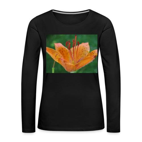 Frauen Premium Langarmshirt - orange,Feuerlilie,Blume