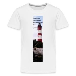 Riesen-Lesezeichen Leuchtturm Amrum + Zitat - Teenager Premium T-Shirt