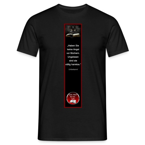 Riesen-Lesezeichen Katze + Buch + Zitat - Männer T-Shirt