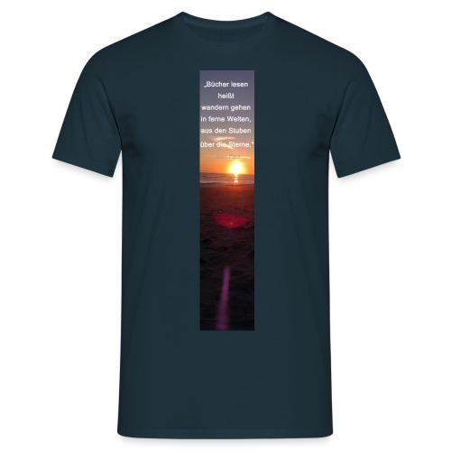 Riesen-Lesezeichen Sonnenuntergang + Meer + Zitat - Männer T-Shirt